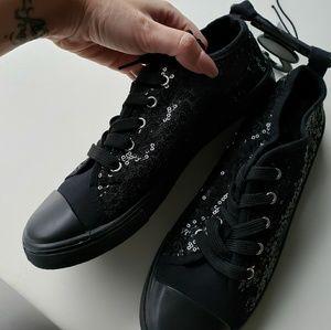 Black Sequin Lace Up Shoes